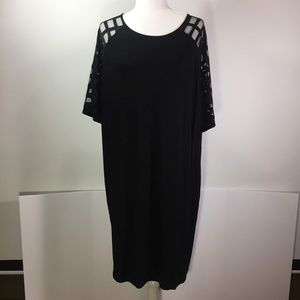 ASOS Curve Black Dress with Mesh Sleeves size 18